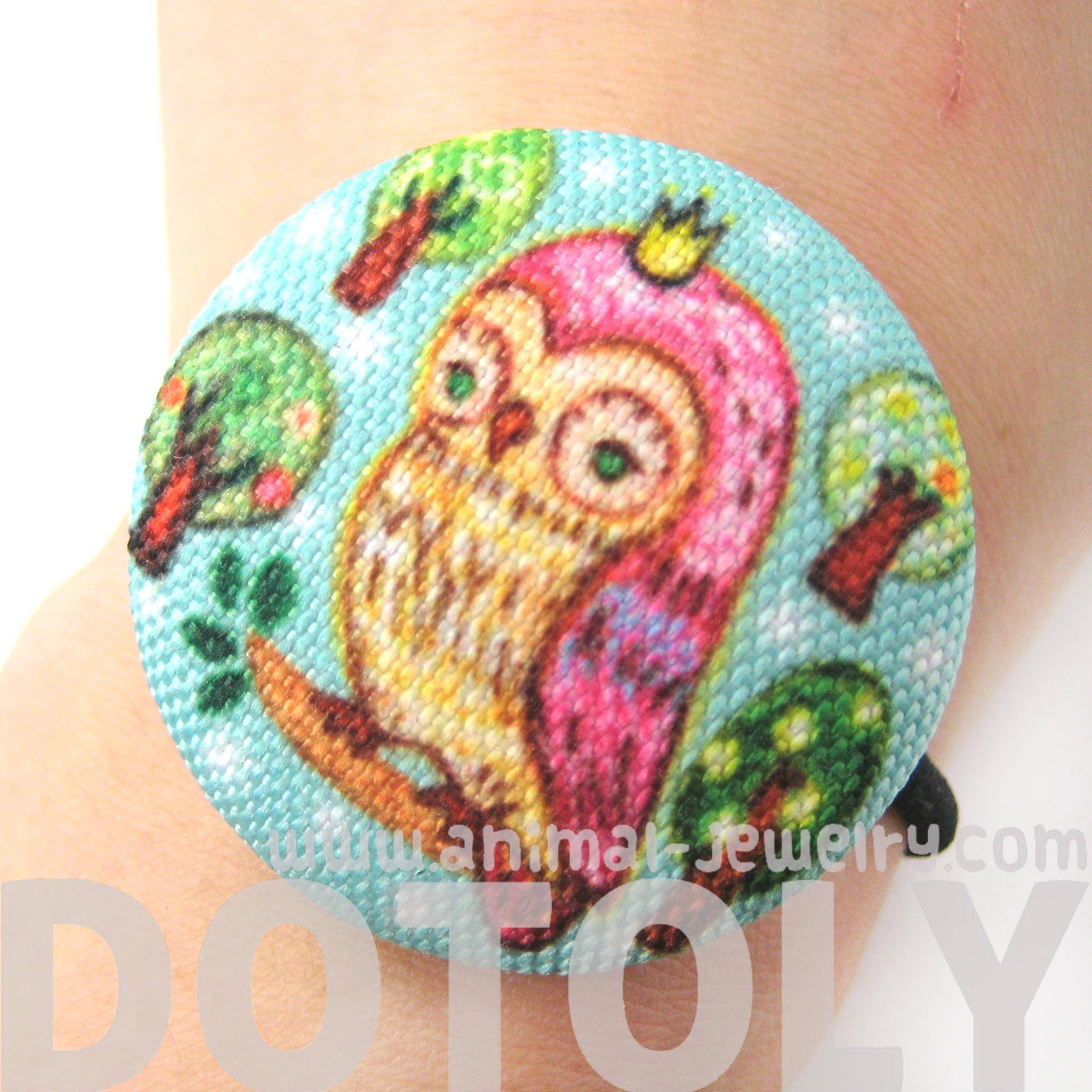 hand-drawn-owl-on-a-branch-animal-button-hair-tie-pony-tail-holder