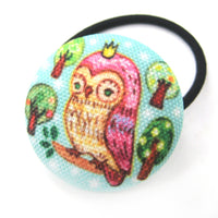 Hand Drawn Owl on a Branch Animal Button Hair Tie Pony Tail Holder