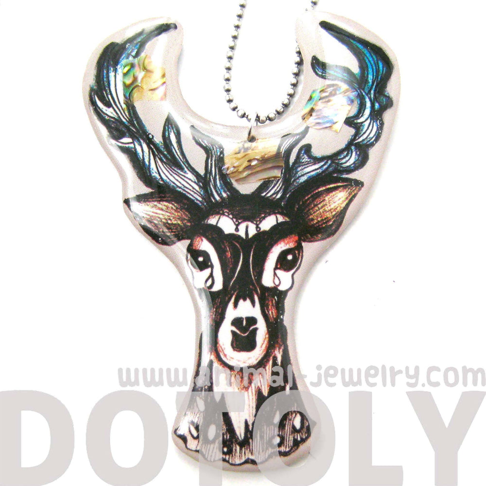 Hand Drawn Stag Deer Doe Shaped Illustrated Resin Pendant Necklace