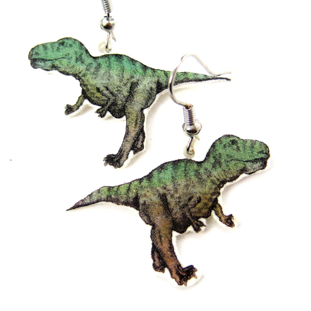 Hand Drawn T-Rex Dinosaur Shaped Animal Dangle Earrings | Shrink Plastic