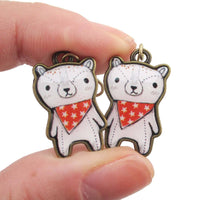 Hand Drawn Teddy Polar Bear Shaped Dangle Earrings | DOTOLY