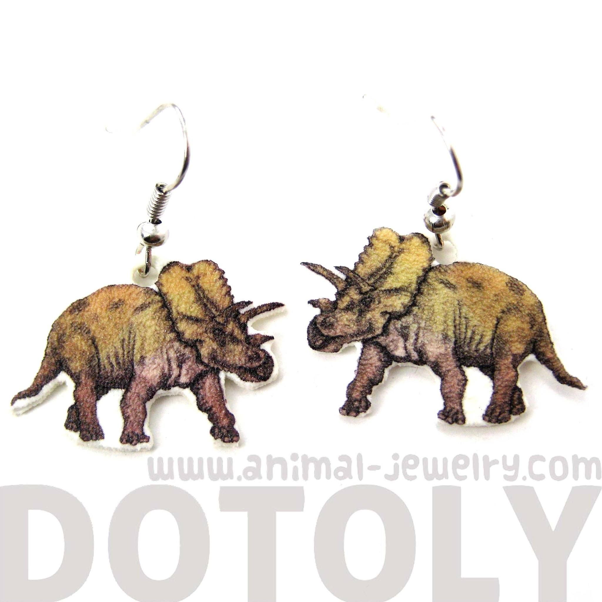 Hand Drawn Triceratops Dinosaur Shaped Dangle Earrings | Shrink Plastic