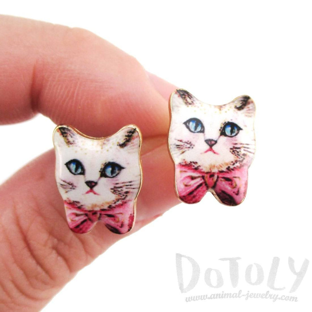 Hand Drawn White Kitty Cat with Pink Bows Shaped Stud Earrings
