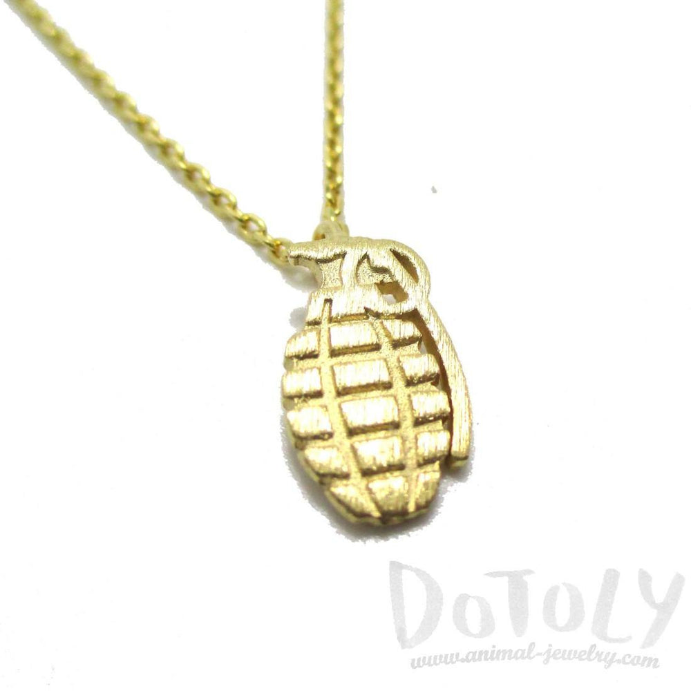 Hand Grenade Shaped Pendant Necklace in Gold | DOTOLY