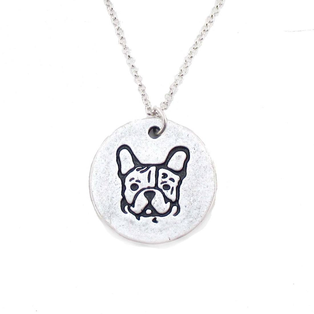 Hand Stamped French Bulldog Coin Pendant Necklace in Silver | DOTOLY