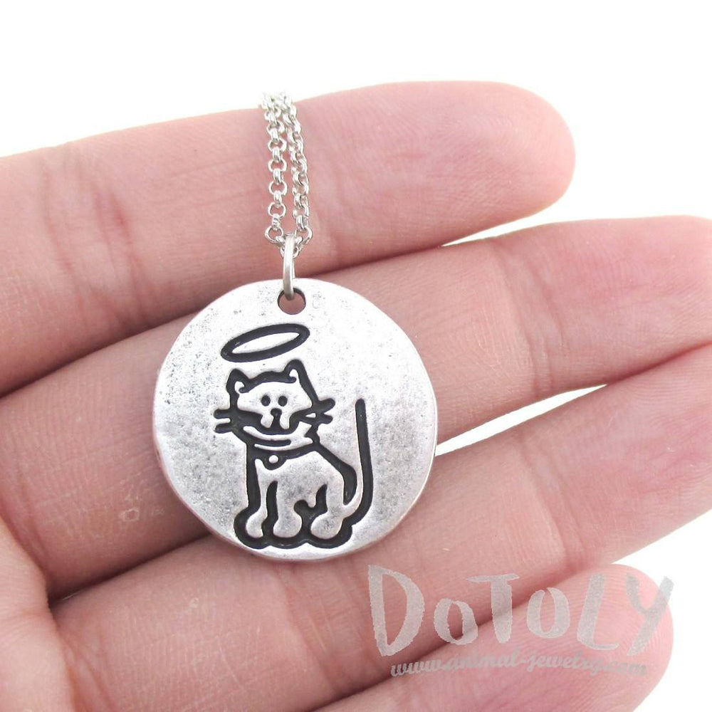 Hand Stamped Kitty Cat Angel Pendant Necklace in Silver | Animal Jewelry
