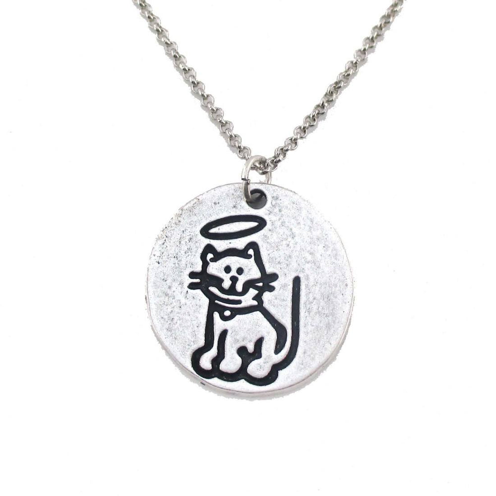 Hand Stamped Kitty Cat Angel Pendant Necklace in Silver | DOTOLY