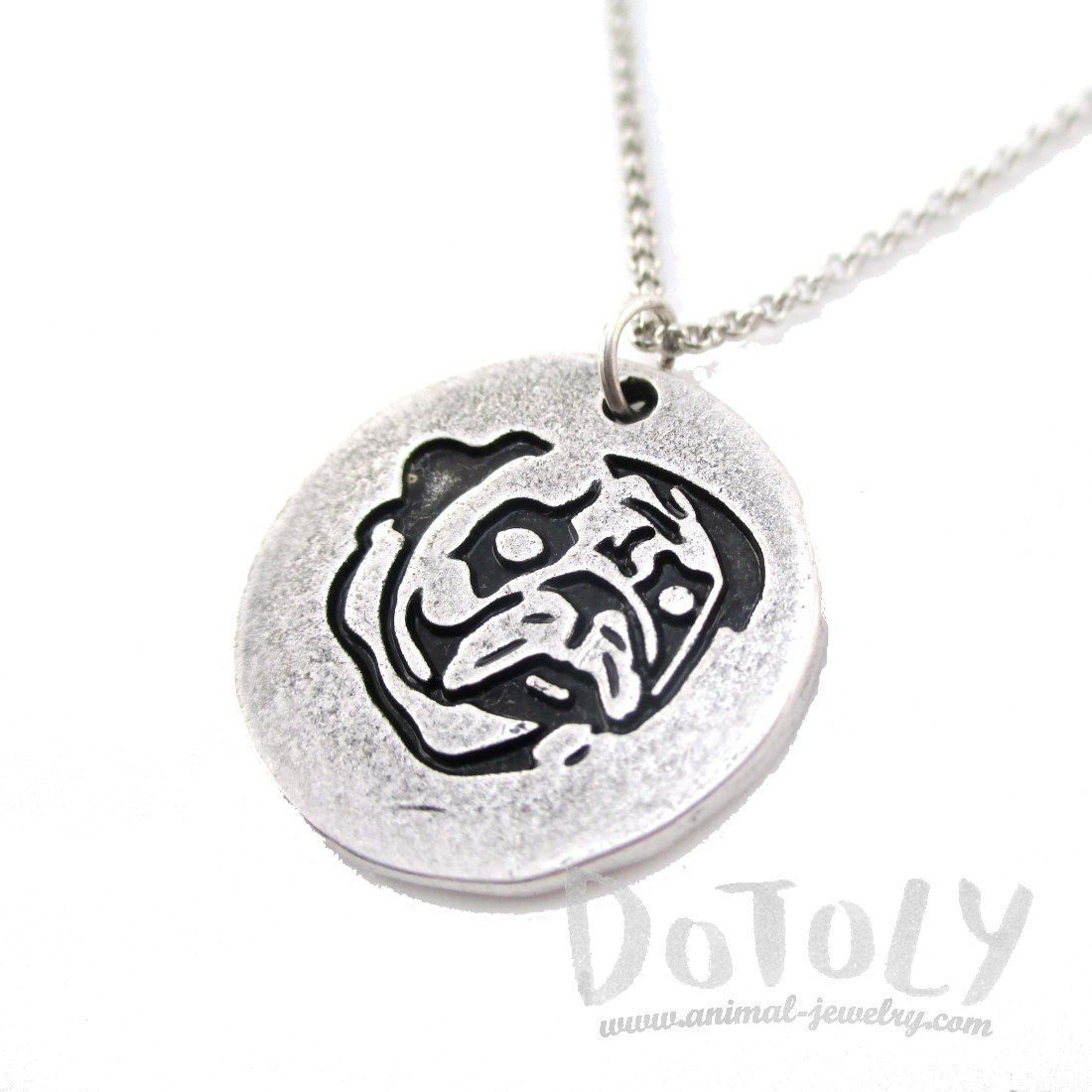 Hand Stamped Pug Dog Coin Pendant Necklace in Silver | Animal Jewelry