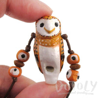 Handmade Barn Owl Shaped Hand Painted Bird Whistle Pendant Necklace