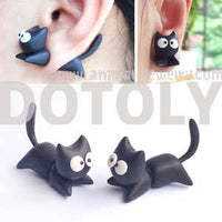 Handmade Black Kitty Cat Animal Fake Gauge Polymer Clay Stud Earring | DOTOLY