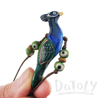 Handmade Blue Peacock Bird Shaped Whistle Pendant Necklace | DOTOLY