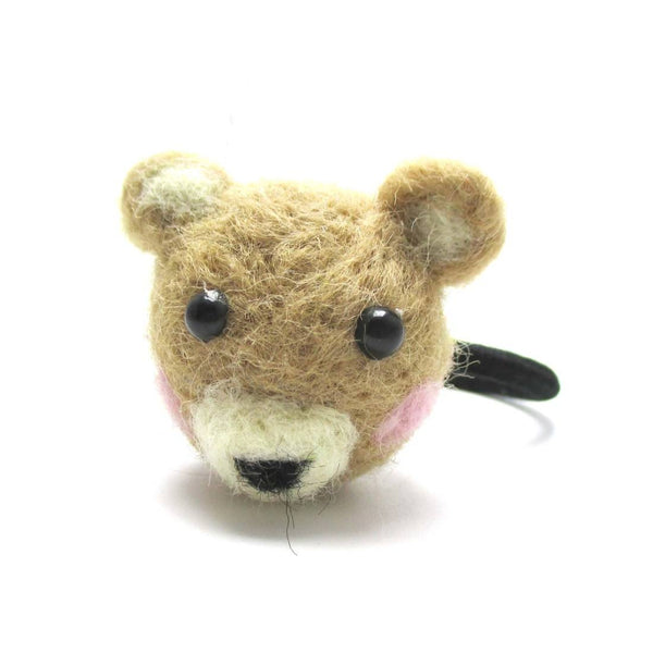 Handmade Brown Teddy Bear Shaped Needle Felted Wool Hair Tie | DOTOLY