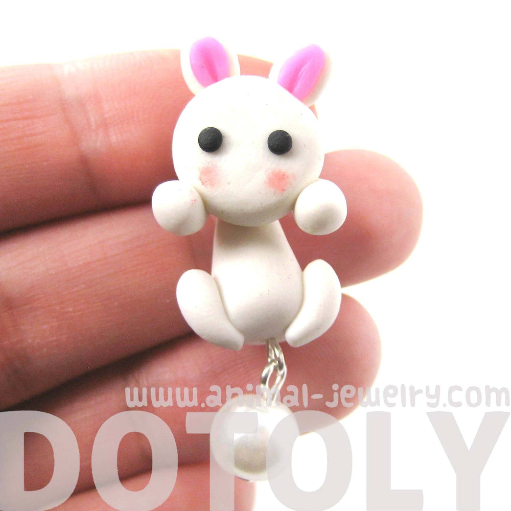 handmade-bunny-rabbit-fake-gauge-two-part-polymer-clay-stud-earring-in-white