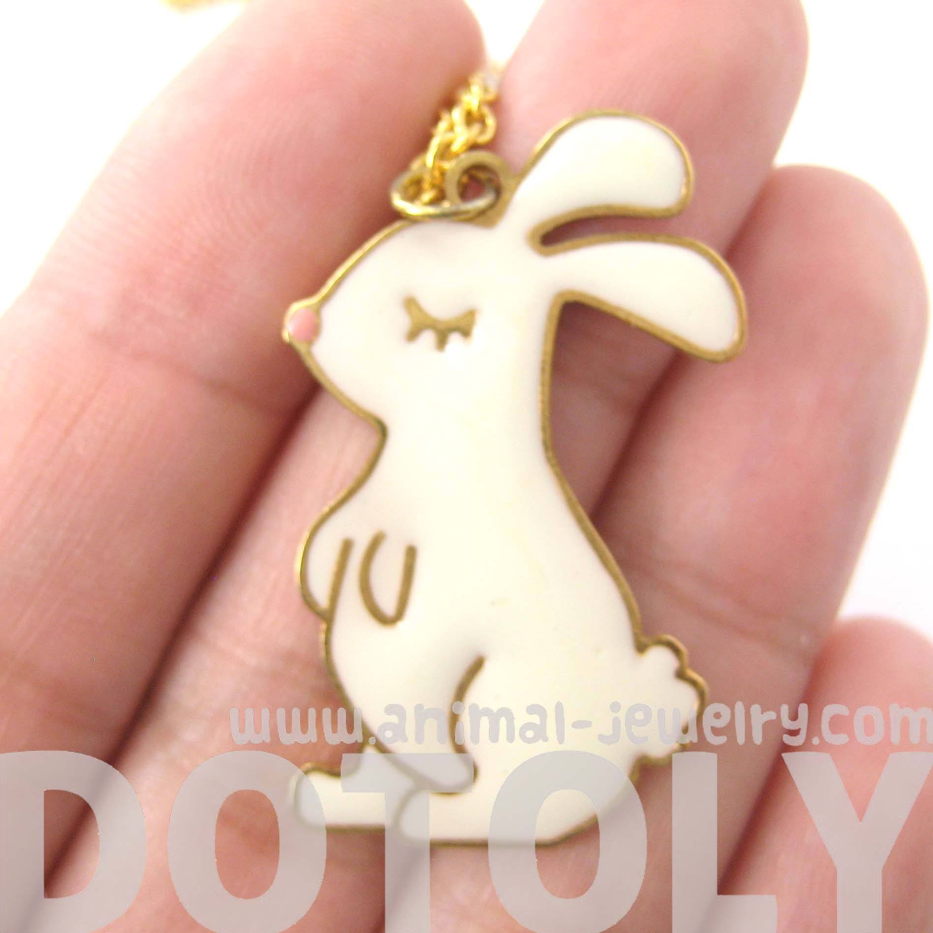 handmade-bunny-rabbit-shaped-animal-pendant-necklace-in-white-limited-edition
