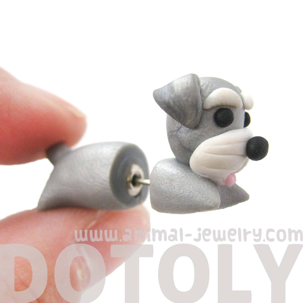 Handmade Cesky Terrier Puppy Dog Shaped Fake Gauge Polymer Clay Stud Earring | DOTOLY