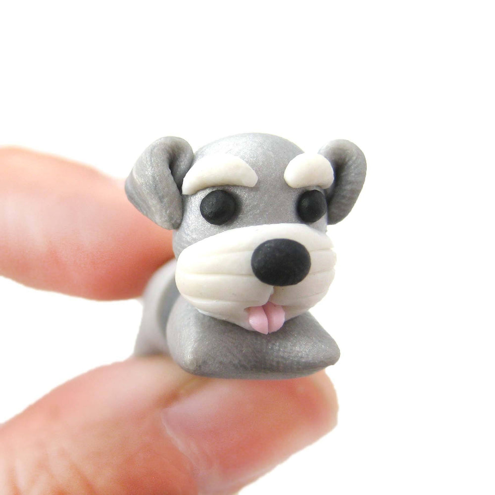 handmade-cesky-terrier-puppy-dog-shaped-fake-gauge-polymer-clay-stud-earring