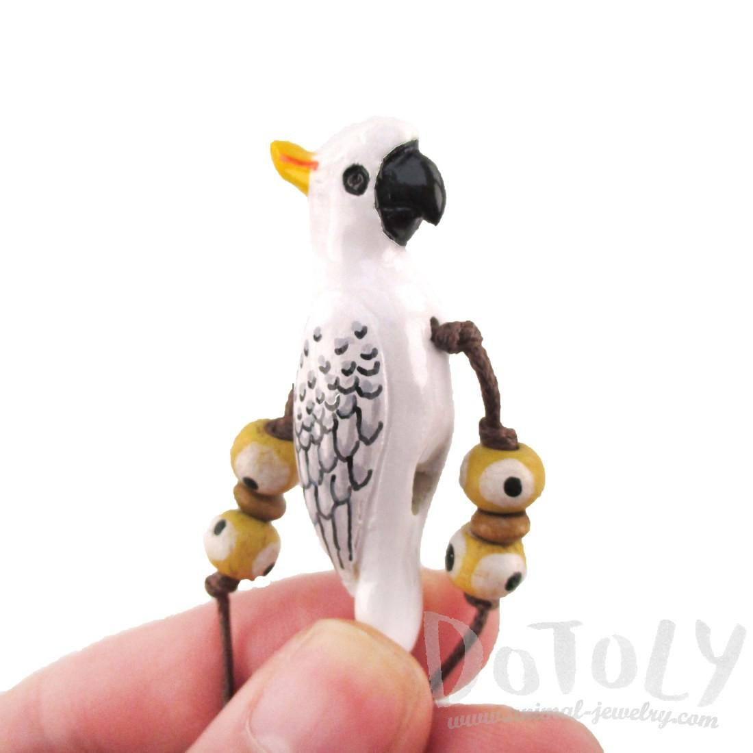 Handmade Cockatoo Parrot Shaped Hand Painted Whistle Pendant Necklace