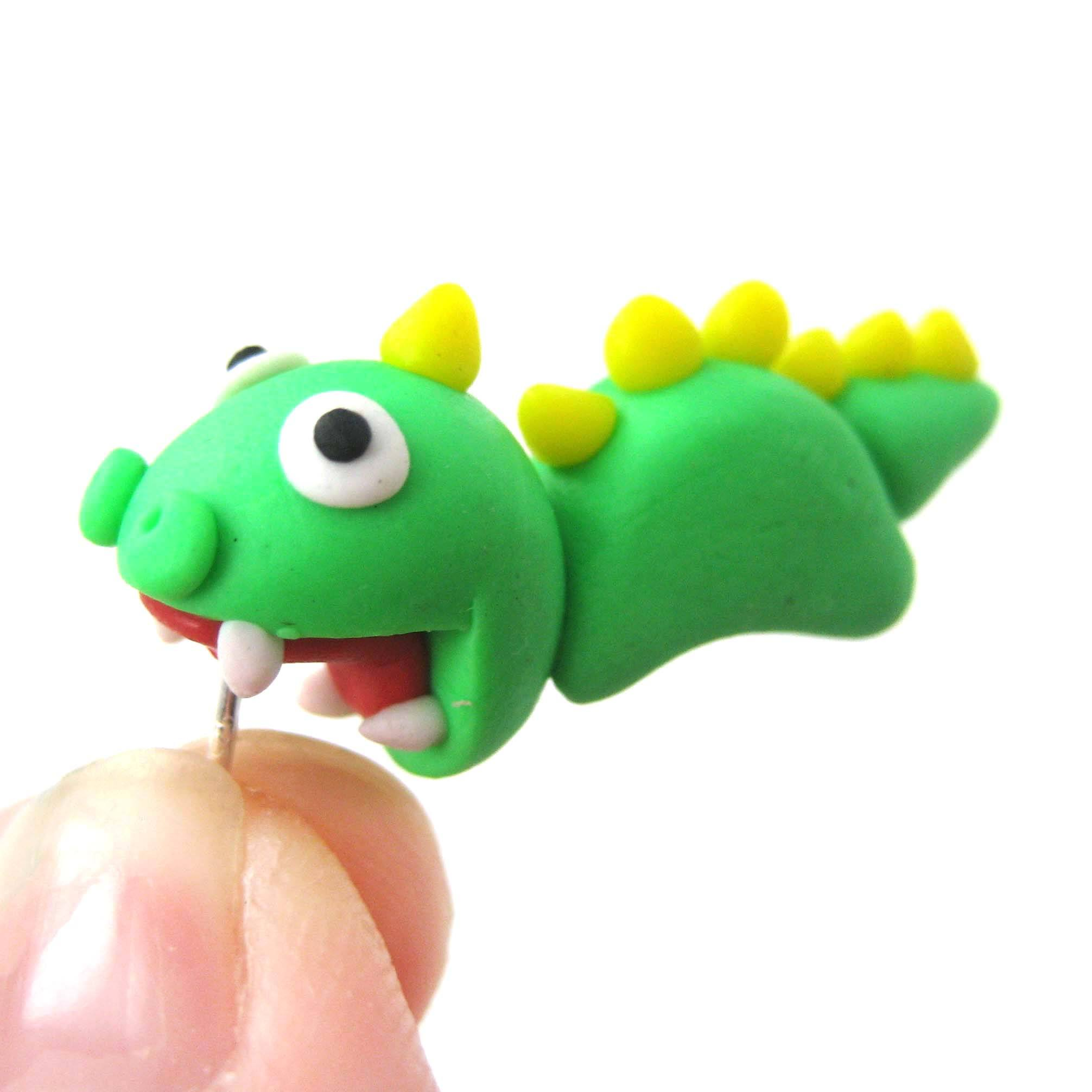 handmade-dinosaur-biting-your-ear-animal-polymer-clay-stud-earring