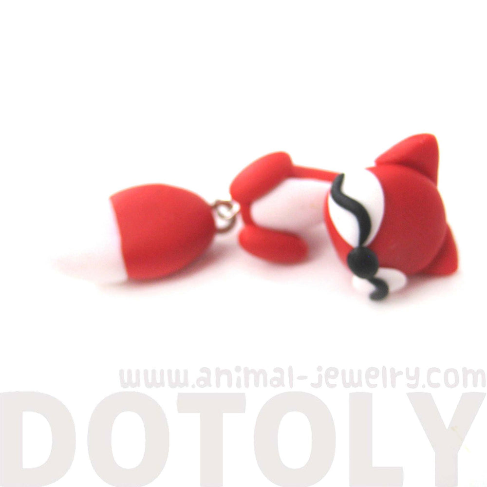 handmade-fox-fake-gauge-two-part-polymer-clay-stud-earring-in-red