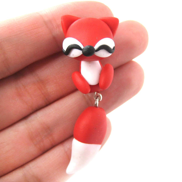 Handmade Fox Fake Gauge Two Part Polymer Clay Stud Earring in Red | DOTOLY