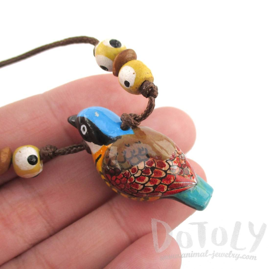 Handmade Gurney's Pitta Bird Shaped Whistle Pendant Necklace | DOTOLY