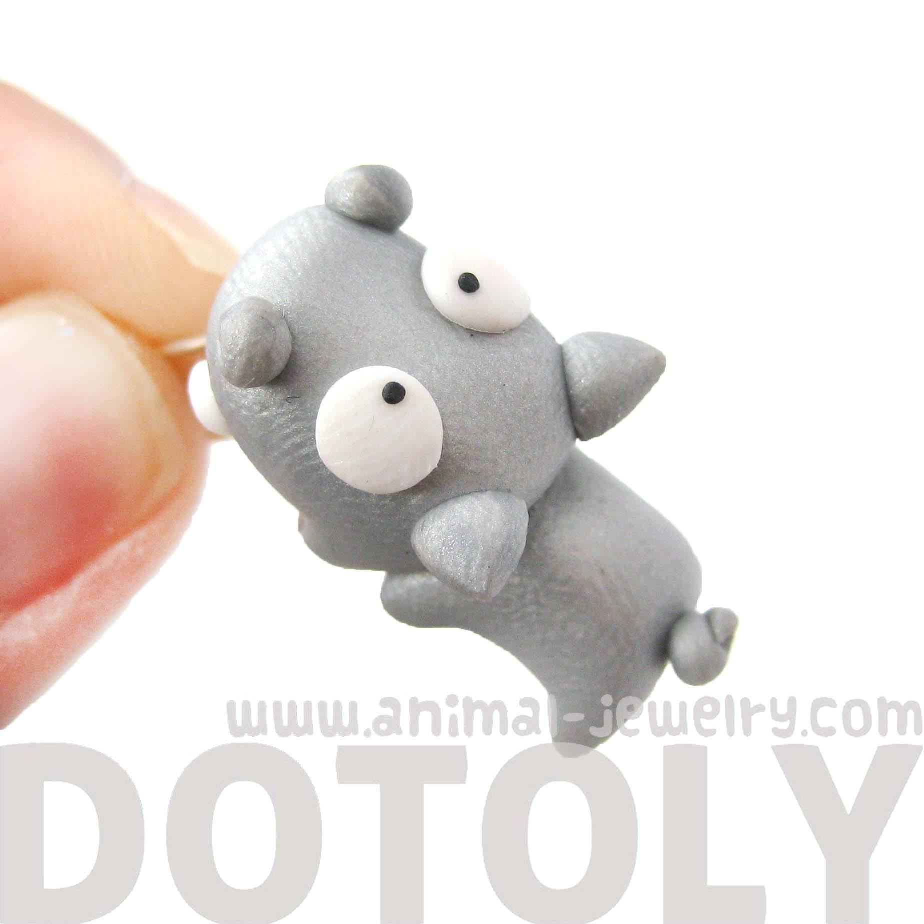 handmade-hippo-biting-your-ear-animal-polymer-clay-stud-earring-dotoly