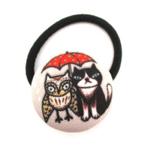 Handmade Kitty Cat and Owl Patterned Button Hair Tie Ponytail Holder