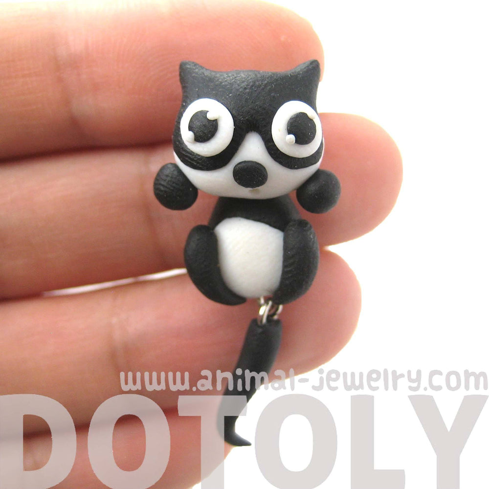 handmade-kitty-cat-animal-two-part-polymer-clay-stud-earring-in-black-and-white