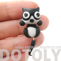 Handmade Kitty Cat Animal Two Part Polymer Clay Stud Earring in Black and White | DOTOLY
