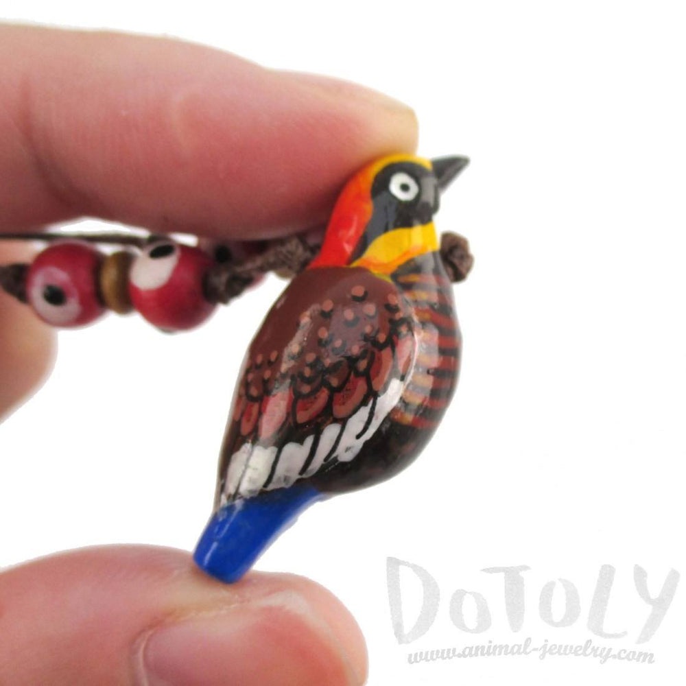 Handmade Malayan Banded Pitta Bird Shaped Whistle Pendant Necklace