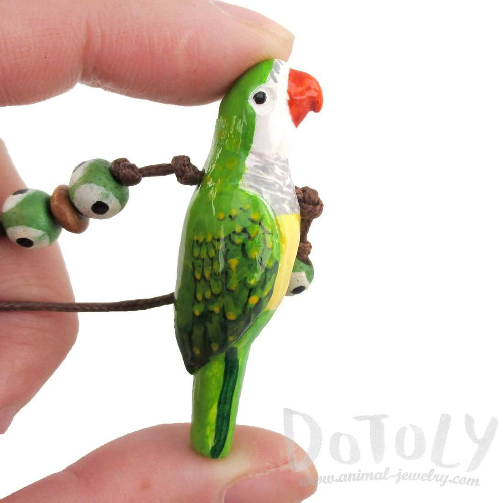 Handmade Monk Parakeet Bird Shaped Hand Painted Whistle Pendant Necklace | DOTOLY | DOTOLY