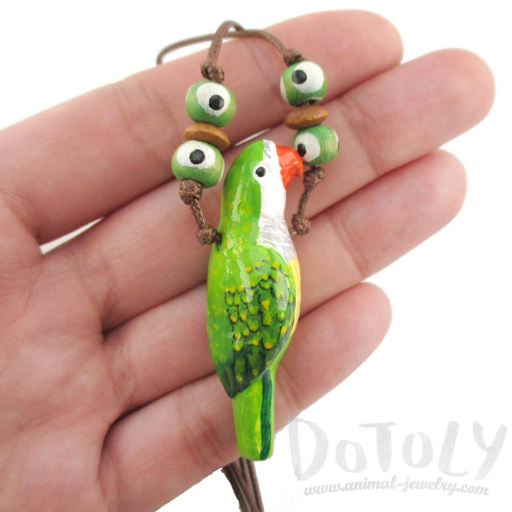 Handmade Monk Parakeet Bird Shaped Whistle Pendant Necklace | DOTOLY