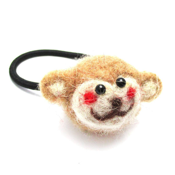Handmade Needle Felted Wool Monkey Shaped Hair Tie | Hair Accessories
