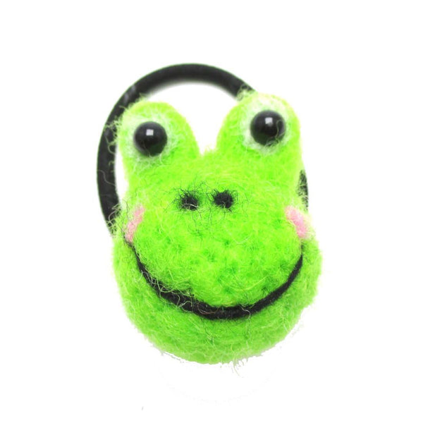 Handmade Needle Felted Wool Green Froggy Shaped Hair Tie | DOTOLY