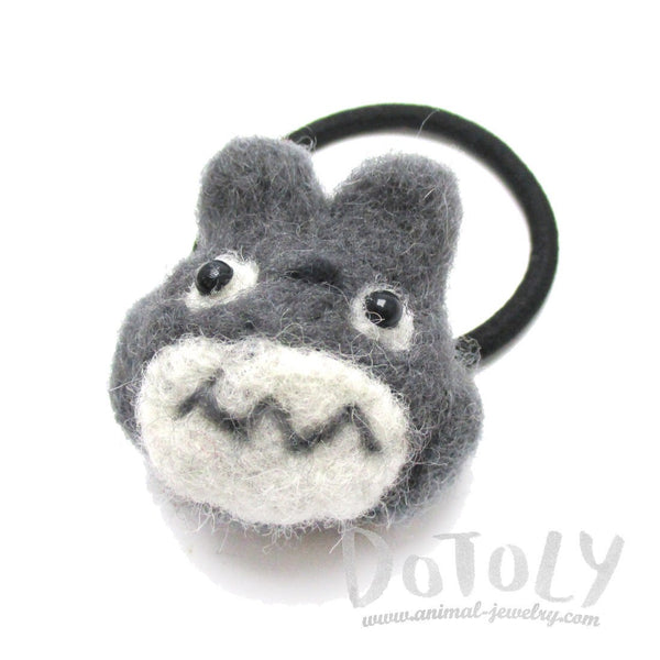 Handmade Needle Felted Wool Totoro Shaped Hair Tie | Hair Accessories