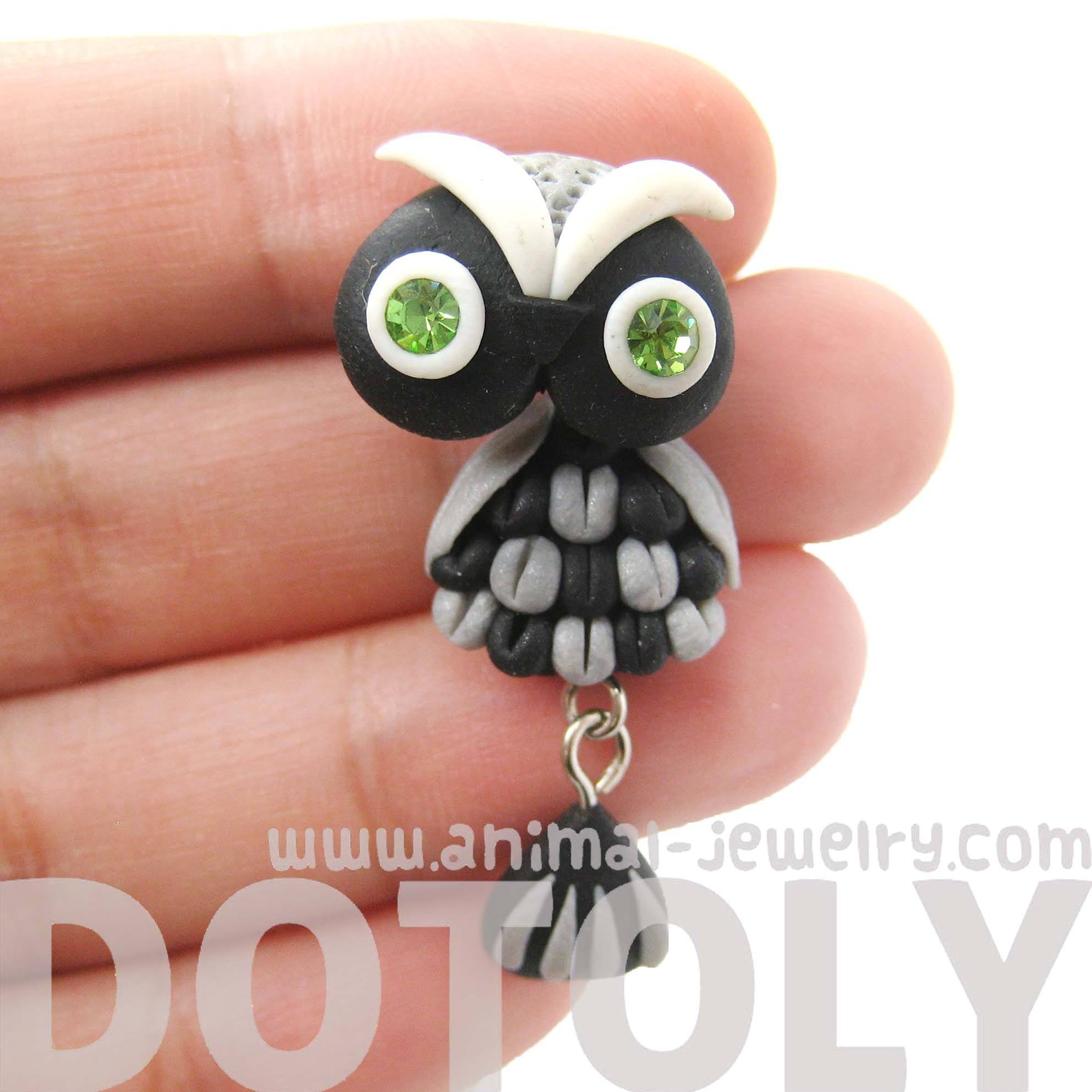 handmade-owl-bird-fake-gauge-two-part-polymer-clay-stud-earring-in-black