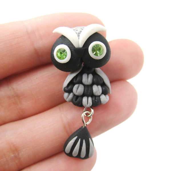 Handmade Owl Bird Fake Gauge Two Part Polymer Clay Stud Earring in Black | DOTOLY