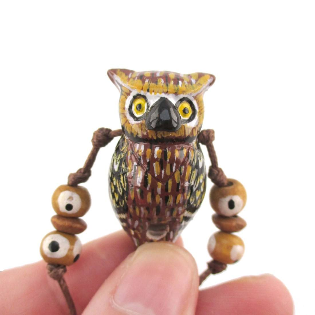 Handmade Owl Shaped Hand Painted Bird Whistle Pendant Necklace