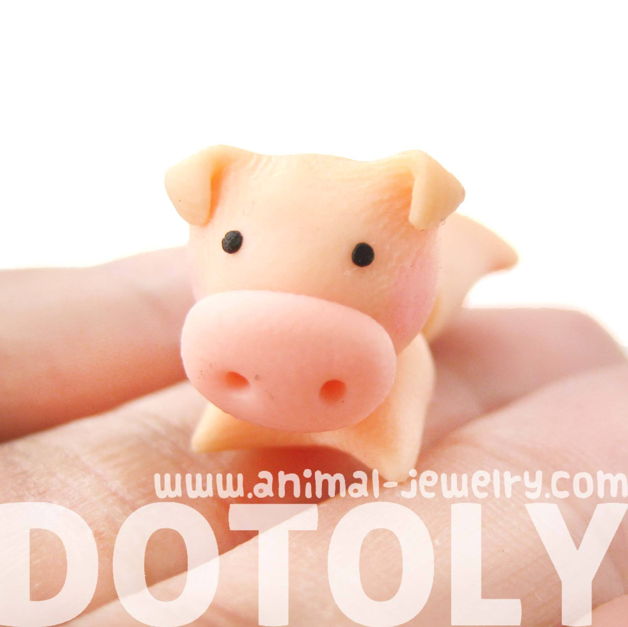 handmade-piglet-pig-animal-fake-gauge-polymer-clay-stud-earring-dotoly