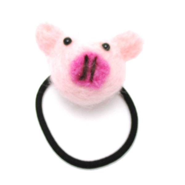 Handmade Piglet Piggy Animal Themed Needle Felted Wool Hair Tie