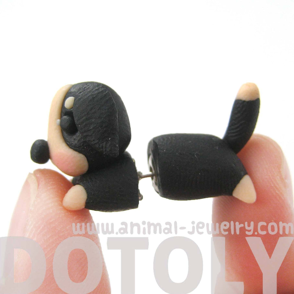 handmade-puppy-dog-animal-fake-gauge-polymer-clay-stud-earring-in-black-and-tan