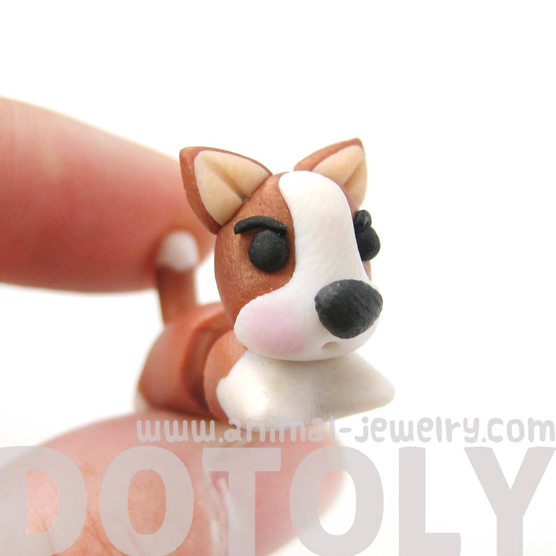 handmade-puppy-dog-animal-fake-gauge-polymer-clay-stud-earring-in-brown-and-white