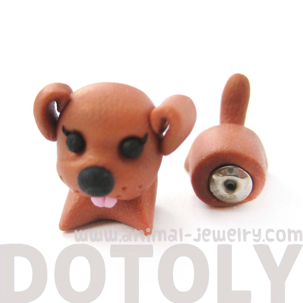 Handmade Puppy Dog Animal Shaped Fake Gauge Polymer Clay Stud Earring in Brown | DOTOLY