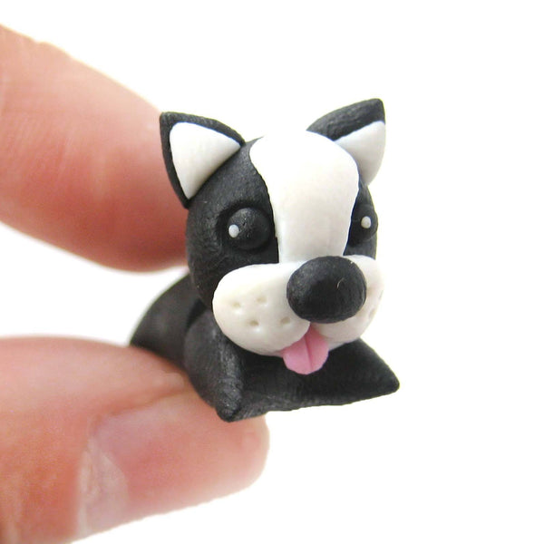 handmade-puppy-dog-shaped-animal-fake-gauge-polymer-clay-stud-earring