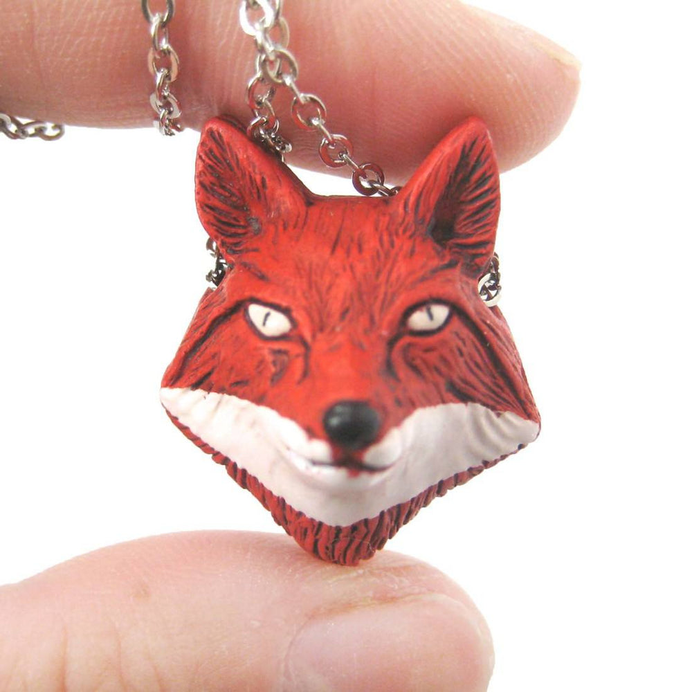 Handmade Red Fox Head Shaped Porcelain Ceramic Animal Pendant Necklace
