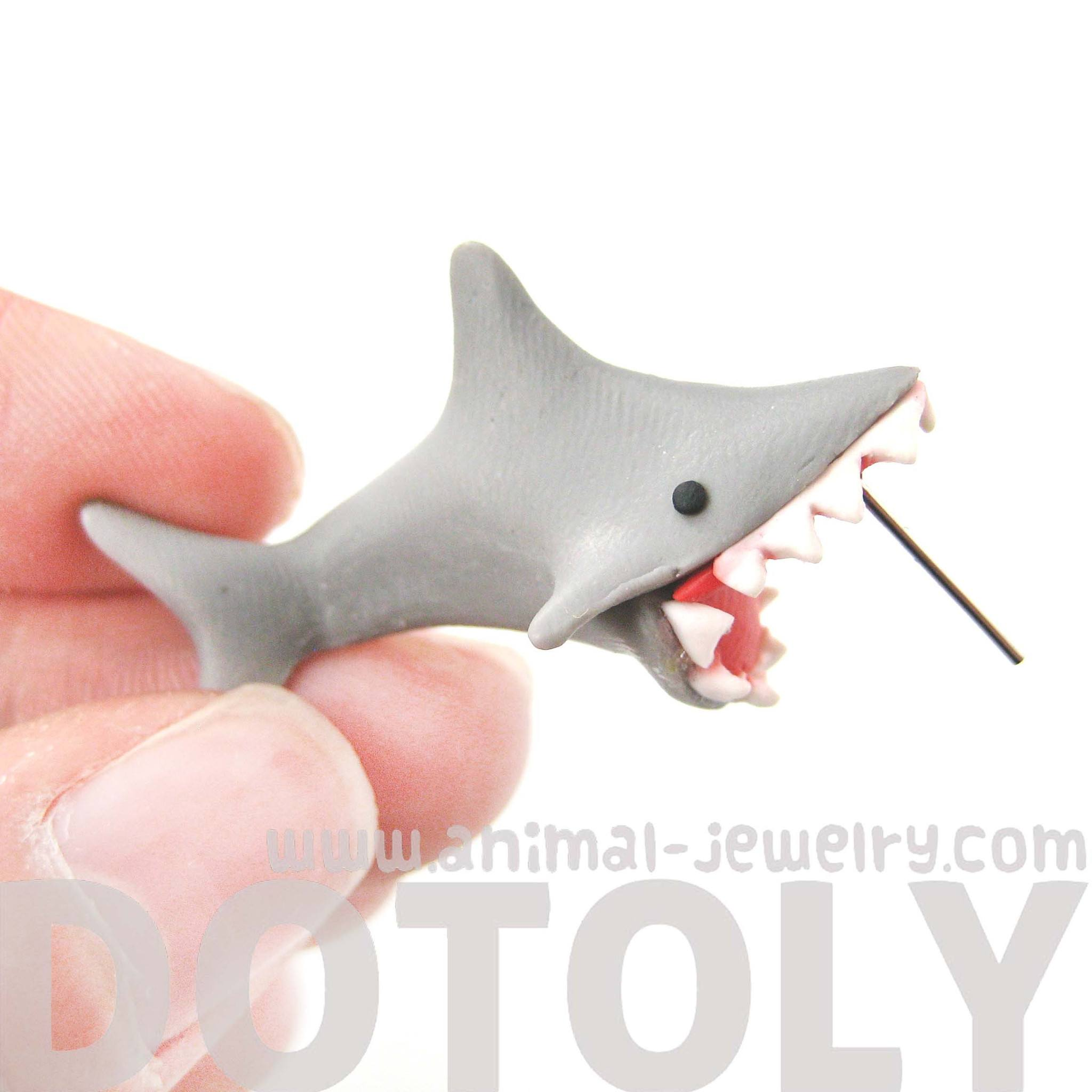 handmade-shark-biting-your-ear-animal-polymer-clay-stud-earring-shark-week
