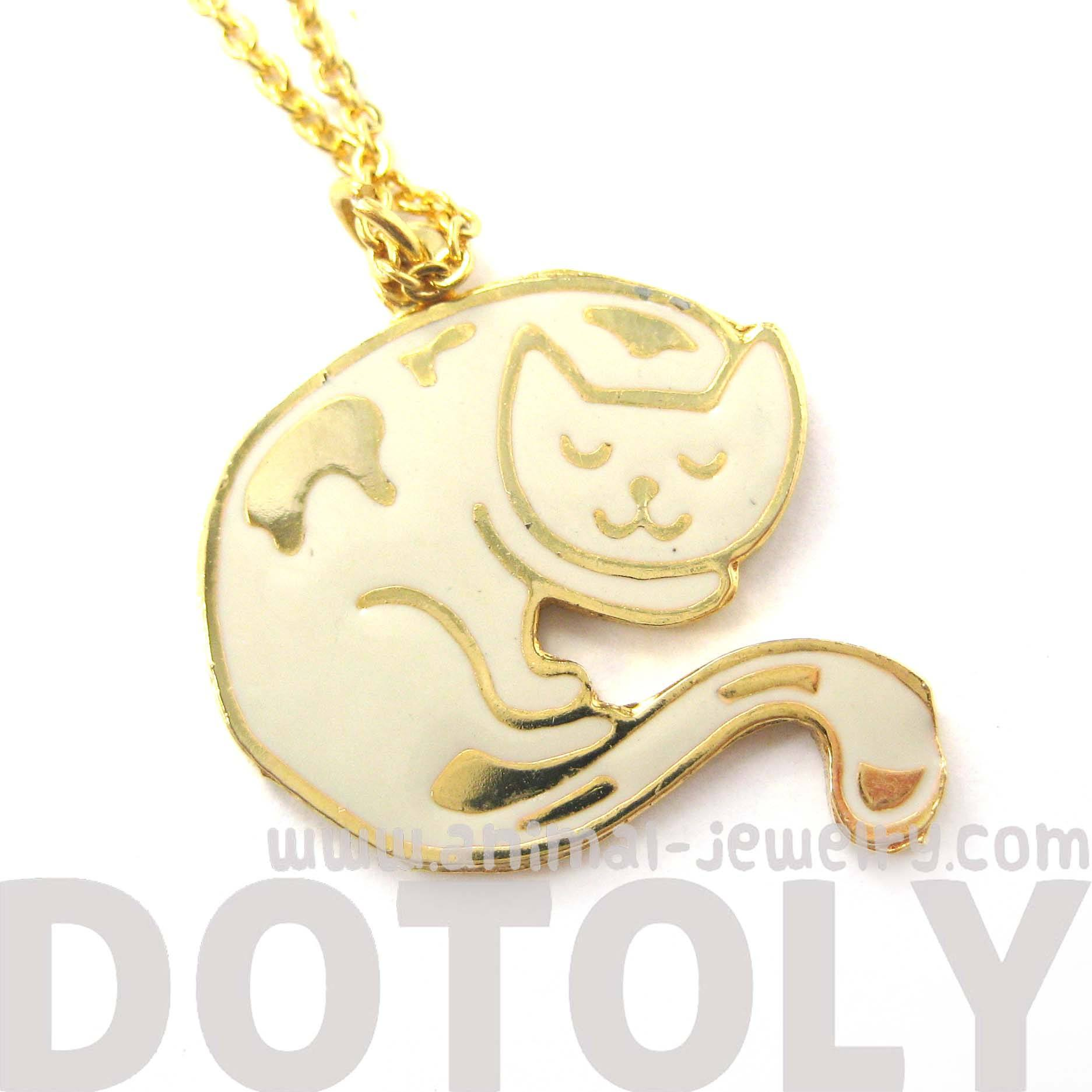 handmade-sleeping-kitty-cat-shaped-animal-pendant-necklace-in-white-limited-edition