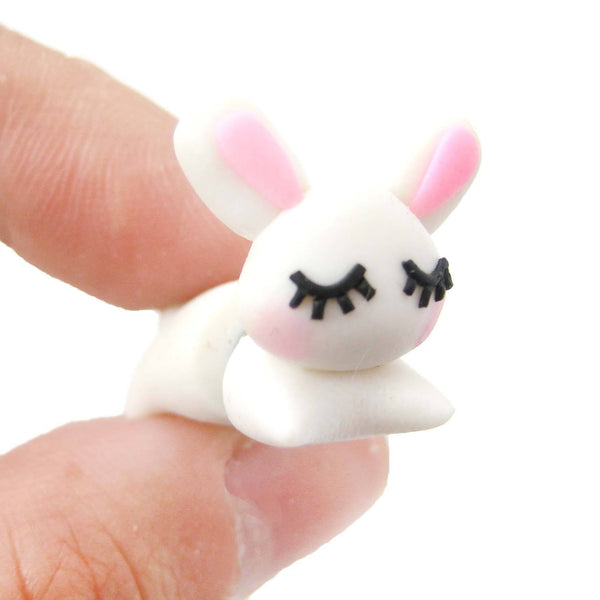 handmade-sleepy-bunny-rabbit-animal-fake-gauge-polymer-clay-stud-earring