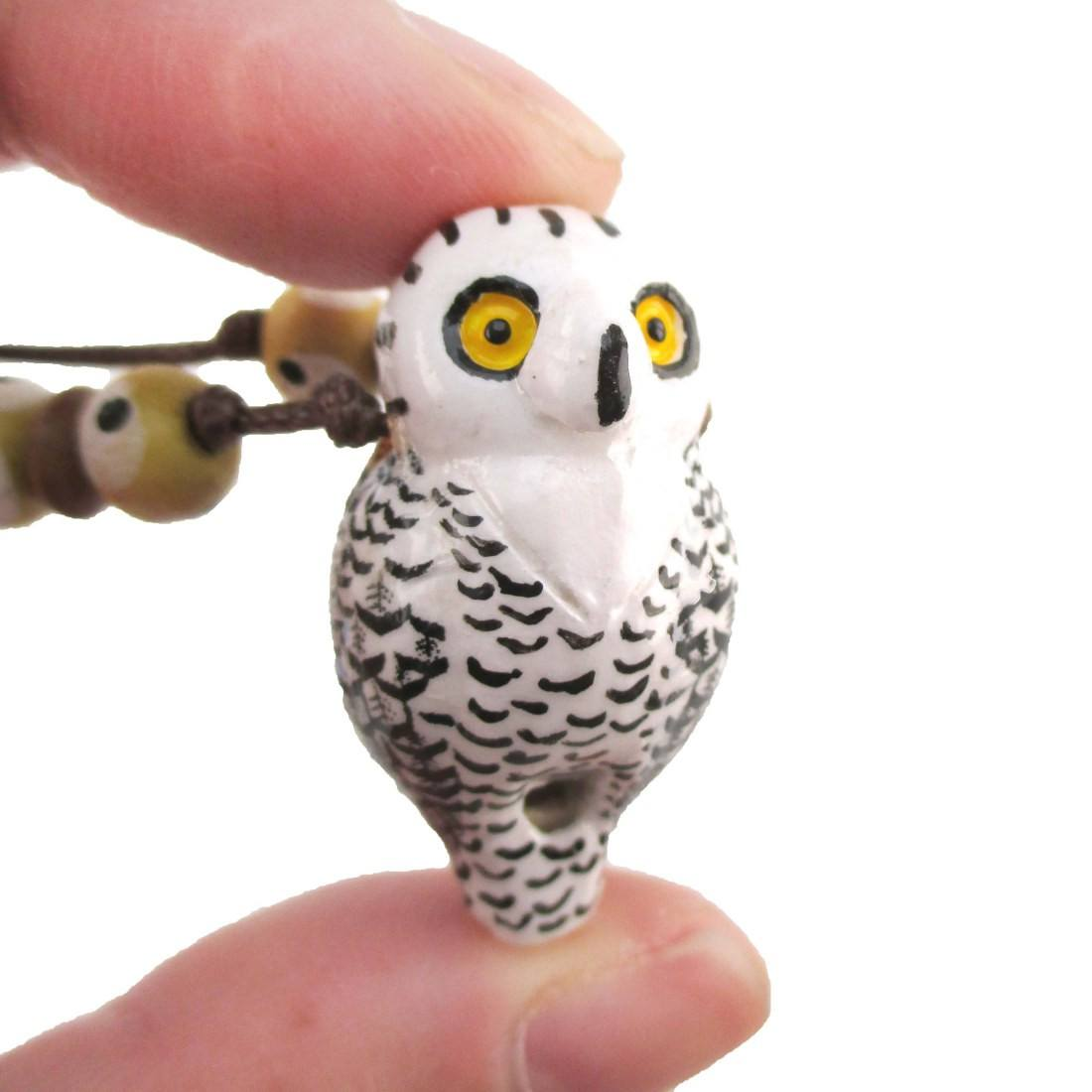 Handmade Snowy Owl Shaped Hand Painted Bird Whistle Pendant Necklace