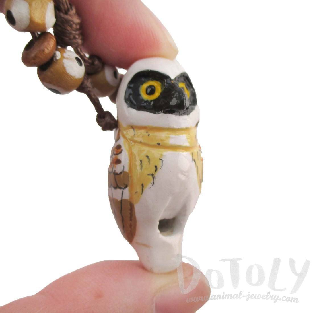 Handmade Spectacled Owl Shaped Hand Painte Whistle Pendant Necklace